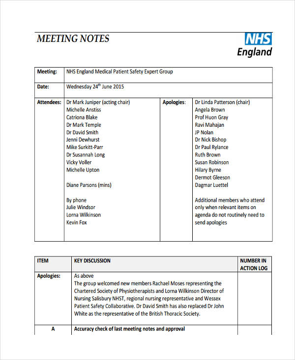 7+ Meeting Note Examples \ Samples - meeting notes template