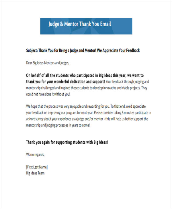 18+ Thank-You Email Examples  Samples Examples
