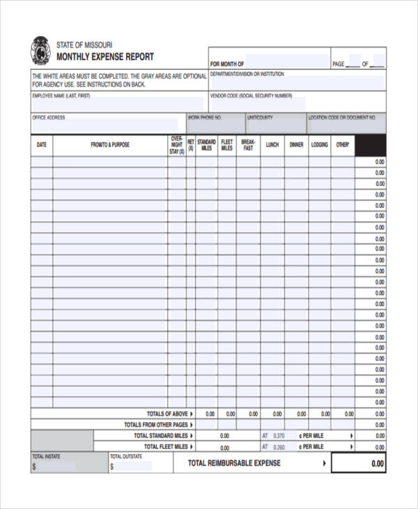 10+ Expense Report Examples  Samples Examples