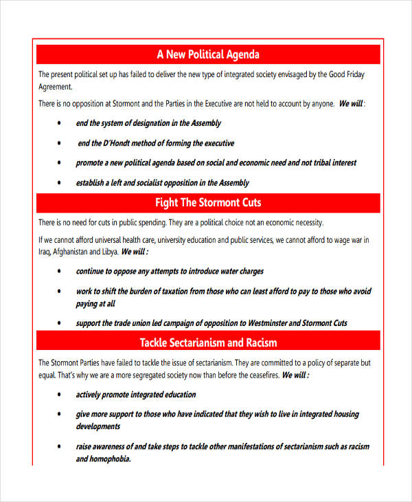 36+ Agenda Examples in PDF - political agenda template