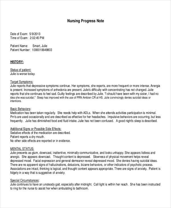 19+ Progress Note Examples  Samples - PDF, DOC - Progress Note