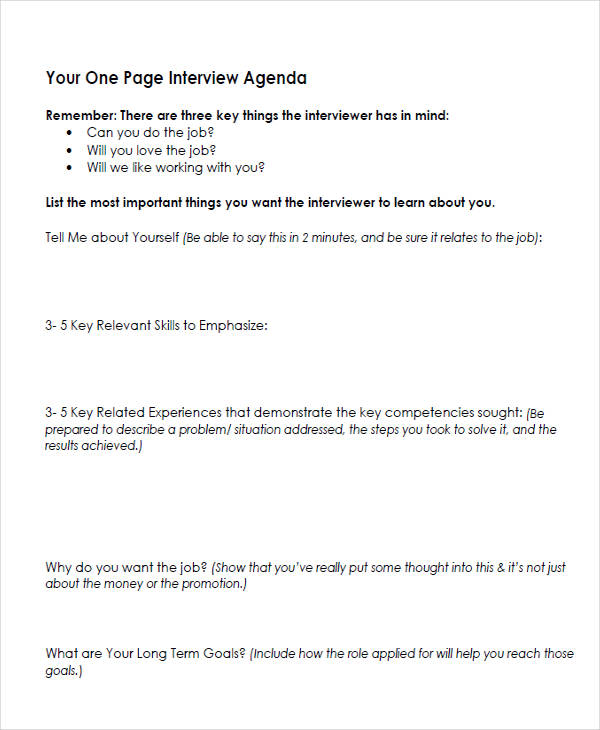 Interview Agenda Template 10 minute interview presentation template - agenda examples templates
