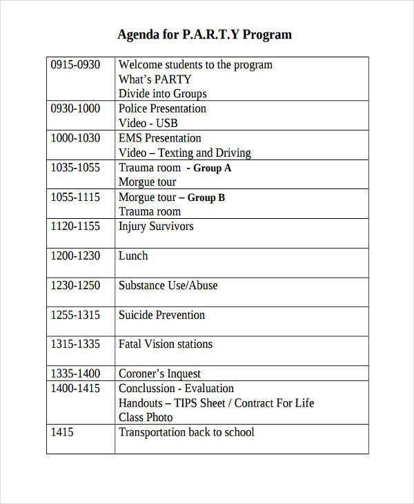 17+ Party Agenda Examples - graduation program template pdf