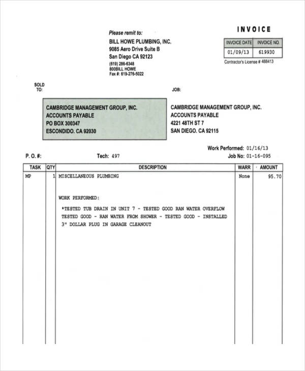 7+ Plumbing Invoice Examples  Samples - plumbing invoice