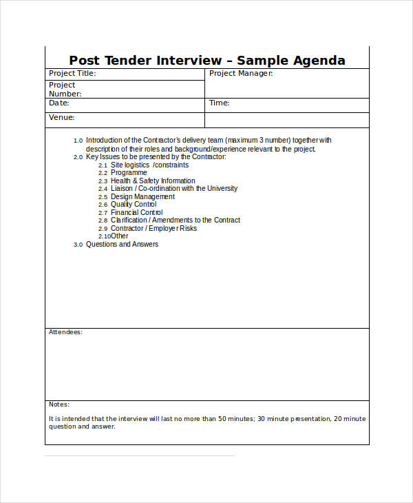 7+ Interview Agenda Examples  Samples
