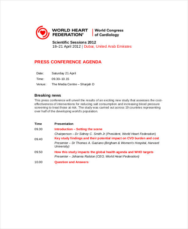 21+ Conference Agenda Examples - sample conference agenda