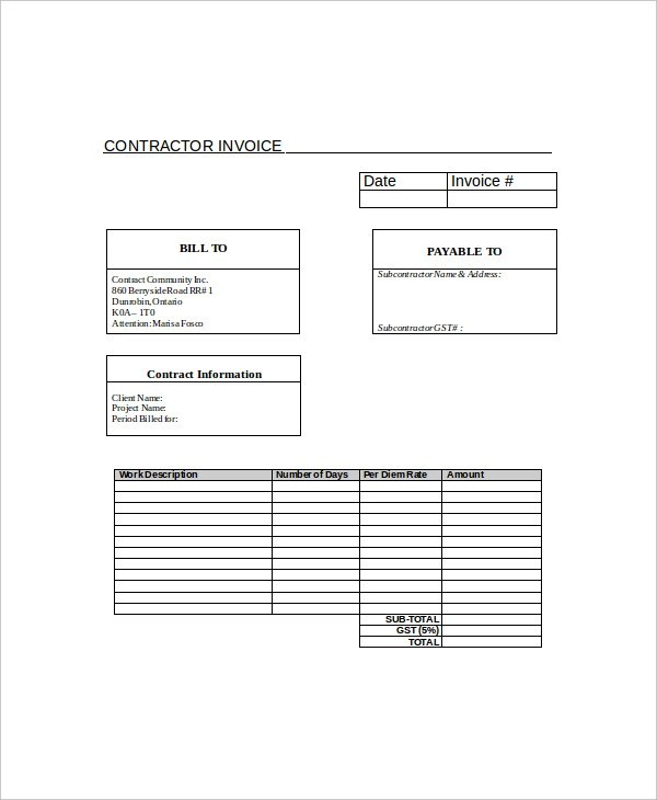13+ Contractor Invoice Examples  Samples