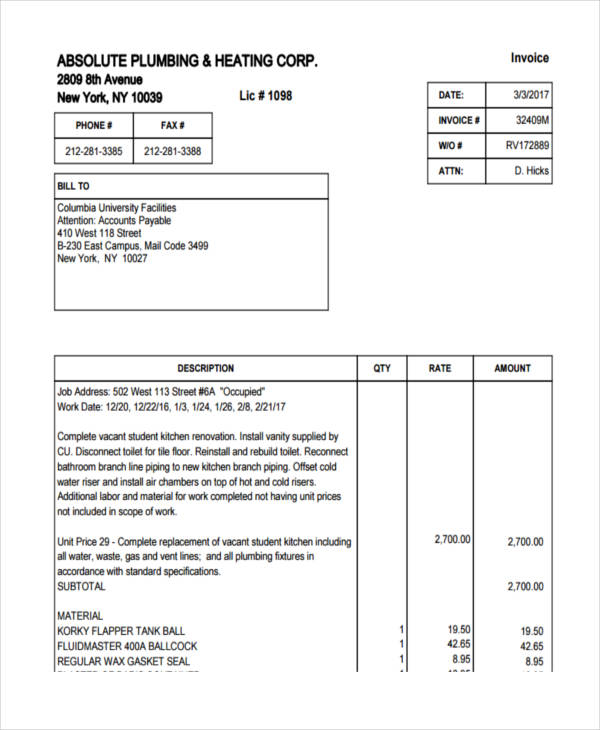 7+ Plumbing Invoice Examples  Samples