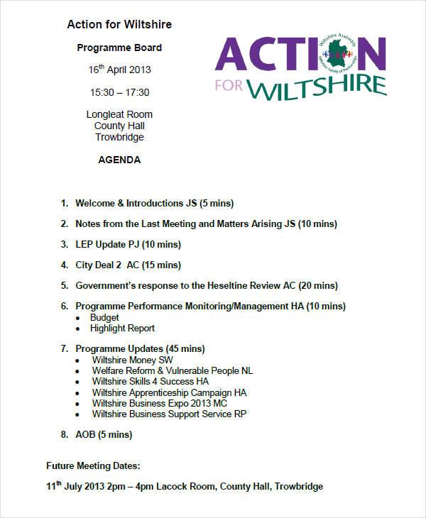 9+ Program Agenda Examples, Samples