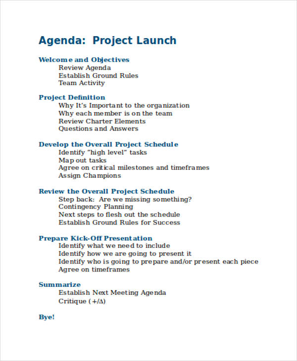 7+ Project Agenda Examples, Samples