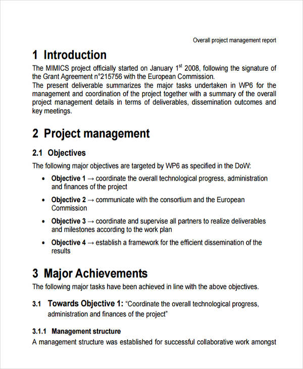 12+ Management Report Examples, Samples - project summary report example