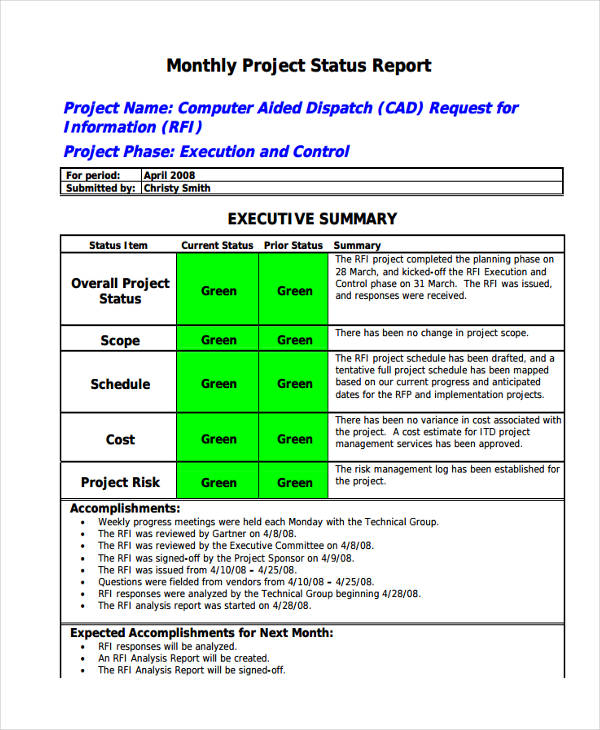 14+ Monthly Report Examples  Samples - PDF, Word - accomplishment report format