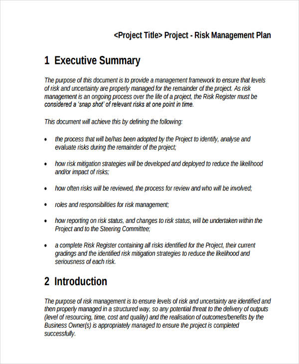 Risk Management Plans  NodeCvresumePaasproviderCom
