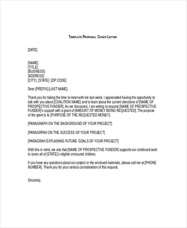 51+ Proposal Templates Examples  Samples - Proposal Letter For Project