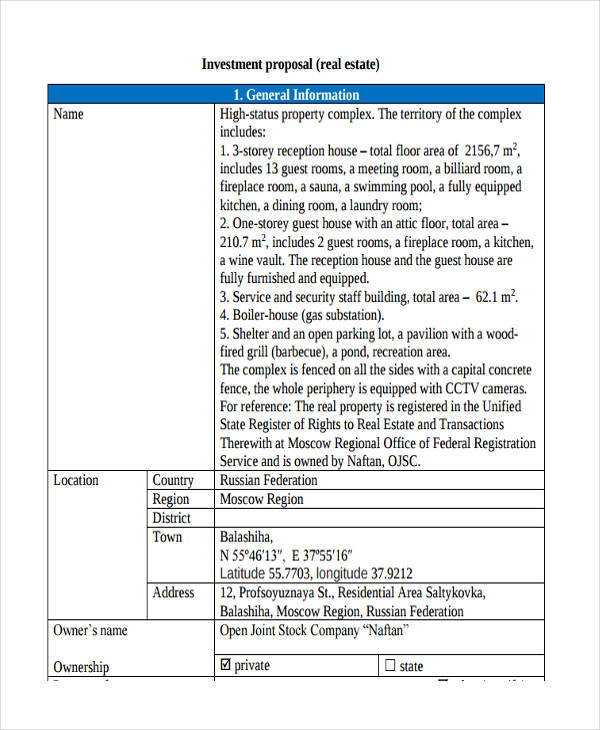 6+ Investment Proposal Examples \ Samples - real estate proposal template