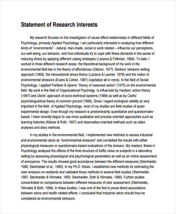17+ Research Statement Examples - PDF, DOC