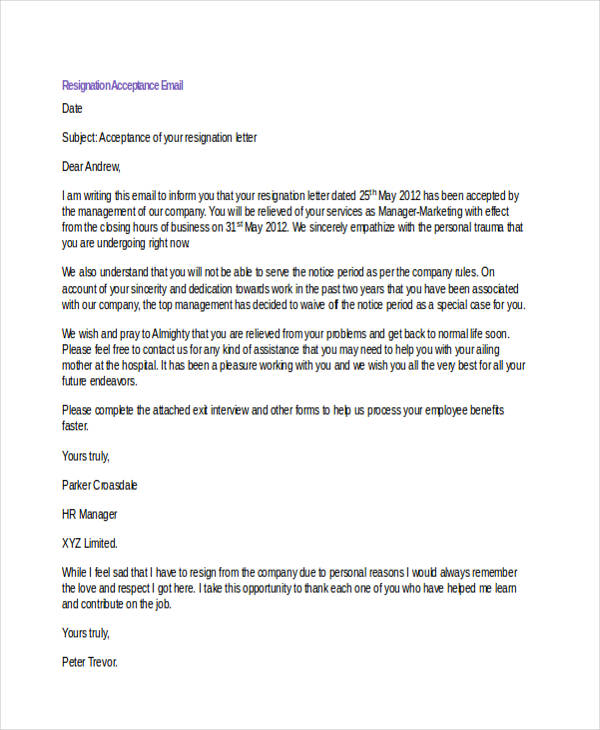18+ Resignation Email Examples - DOC