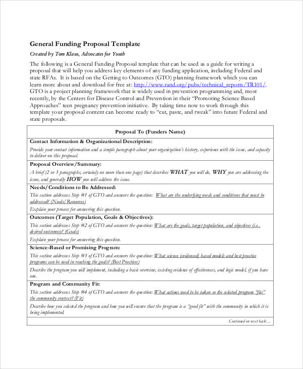 9+ Short Proposal Examples \ Samples - funding proposal template