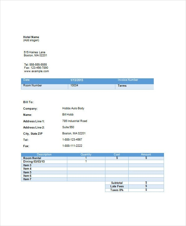 13+ Hotel Invoice Examples  Samples - hotel invoices