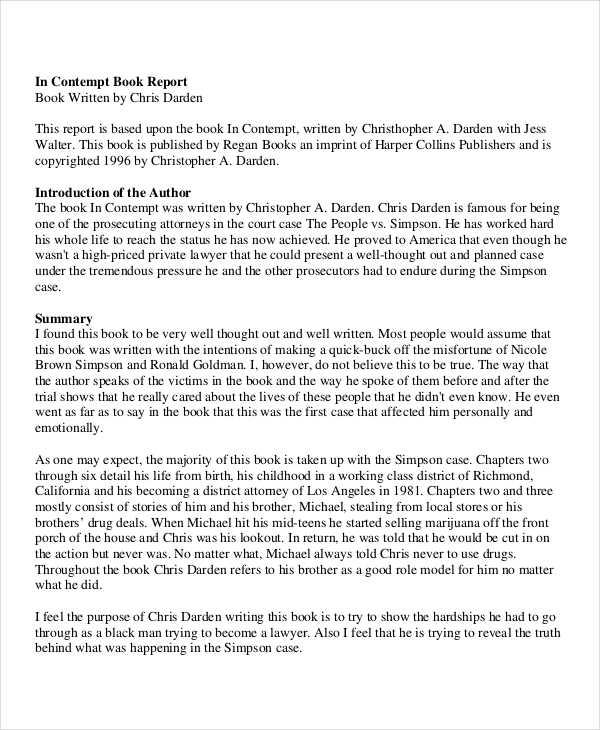 6+ Book Report Examples, Samples