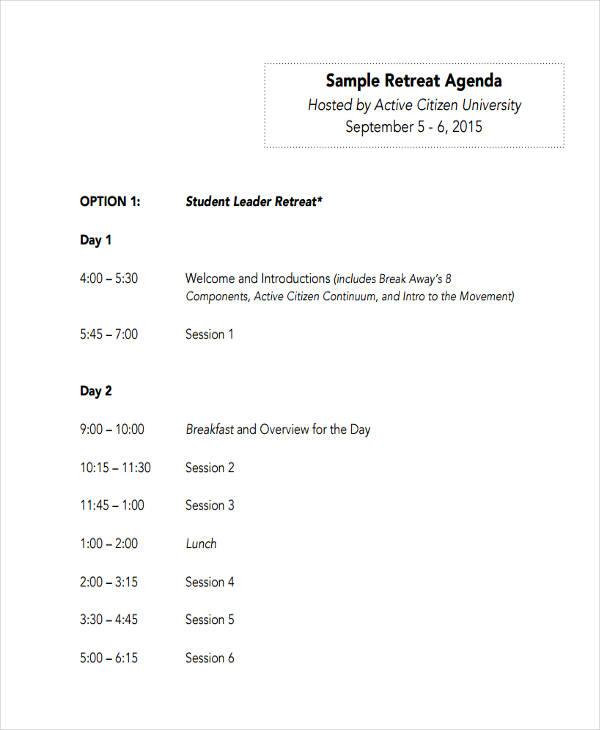 10+ Retreat Agenda Examples, Samples - event agenda sample