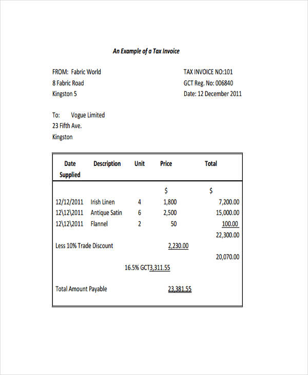 7+ Tax Invoice Examples  Samples - examples of tax invoices