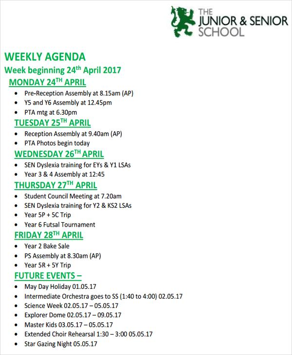 6+ Weekly Agenda Examples, Samples - sample student agenda