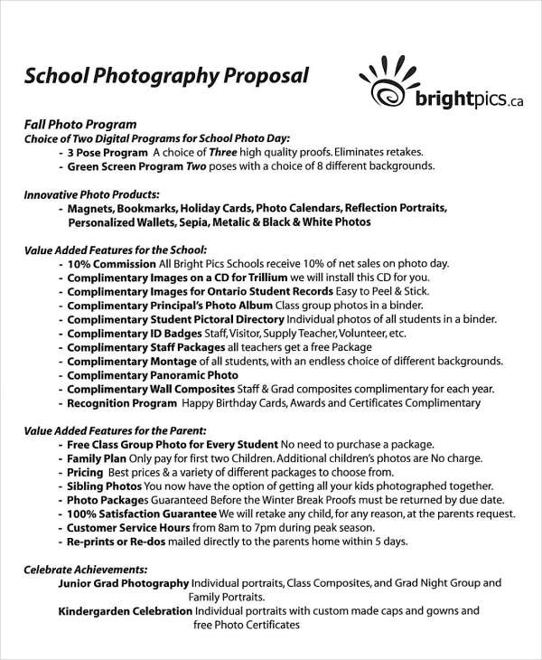 10+ Photography Proposal Examples  Samples - PDF, DOC