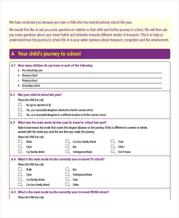 travel survey template – Travel Survey Template
