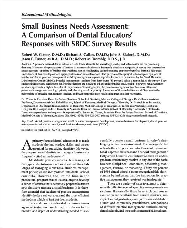 36+ Needs Assessments Examples  Samples - needs assessment example