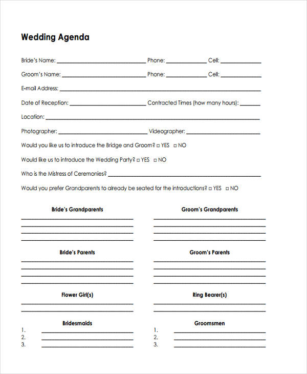 7+ Wedding Agenda Samples, Examples