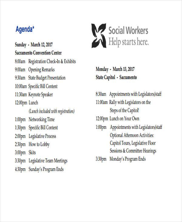 9+ Work Agenda Samples, Examples