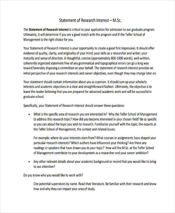career interest statement examples - Ozilalmanoof - sample statement of interest
