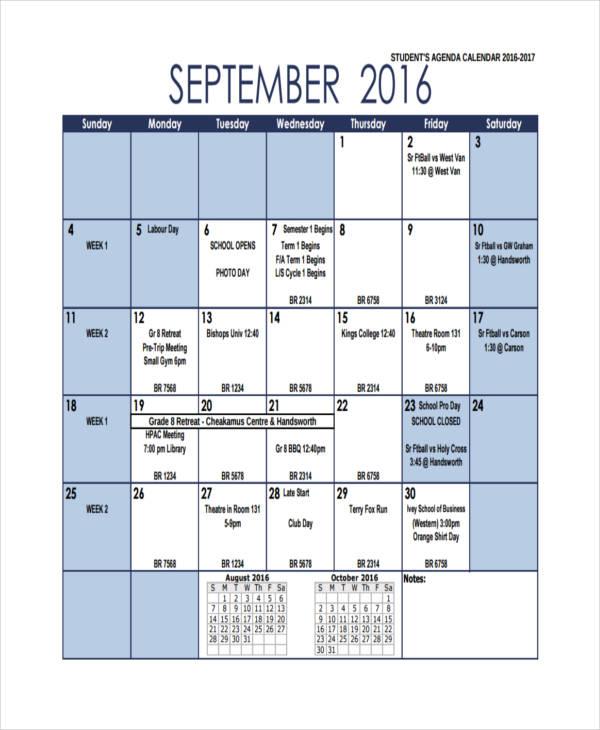 4+ Agenda Calendar Examples, Samples - sample student agenda