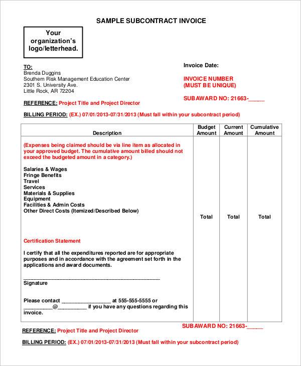 Essential Invoice Elements Subcontractor Invoice 7+ Contractor - contractor invoices