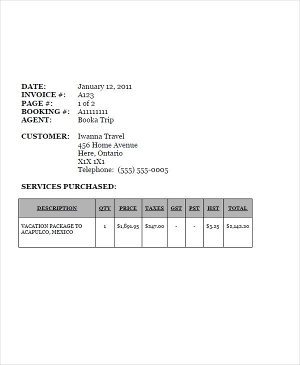 7+ Travel Invoice Examples  Samples - travel invoices