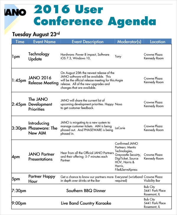 21+ Conference Agenda Examples - conference agenda