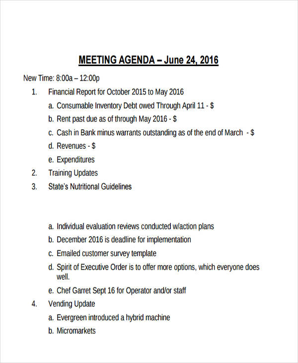 21+ Management Agenda Examples  Samples - management meeting agenda template