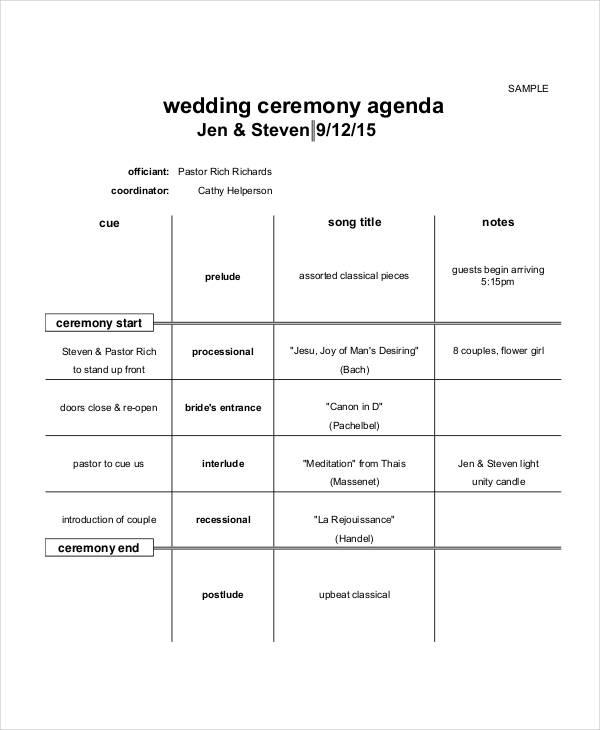 6+ Ceremony Agenda Examples, Samples - wedding agenda sample
