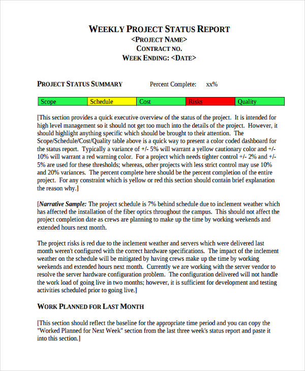 project management weekly status report sample