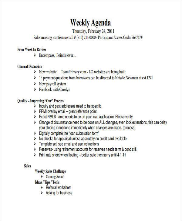 5+ Sales Agenda Examples, Samples