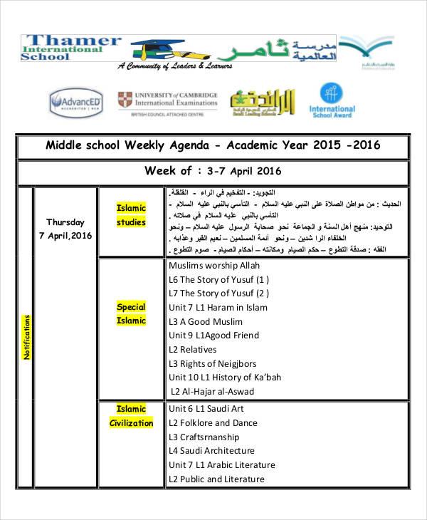 7+ School Agenda Examples, Samples - school agenda