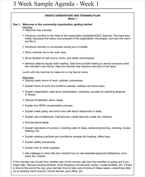 Sample Weekly Agenda Mc Edu A Printable Weekly Agenda Template Is - Sample Training Agenda