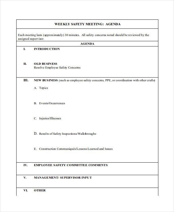 6+ Weekly Agenda Examples, Samples - weekly agenda
