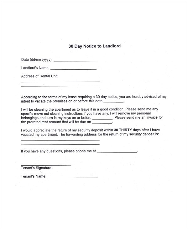 Eviction Notice Example 12 eviction notice template examples – 30 Eviction Notice Form