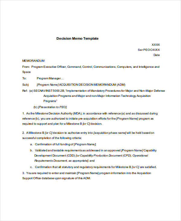 7+ Decision Memo Examples  Samples - PDF, Word, Pages