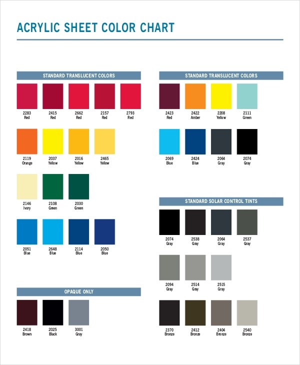 7+ Color Chart Examples, Samples - sample cmyk color chart