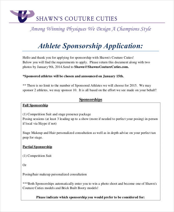8+ Sponsorship Applications Examples  Samples - athlete sponsorship contract