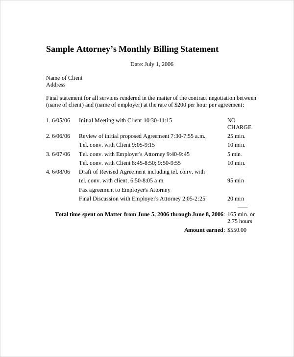 7+ Billing Statement Examples  Samples - PDF, Word, Pages Examples