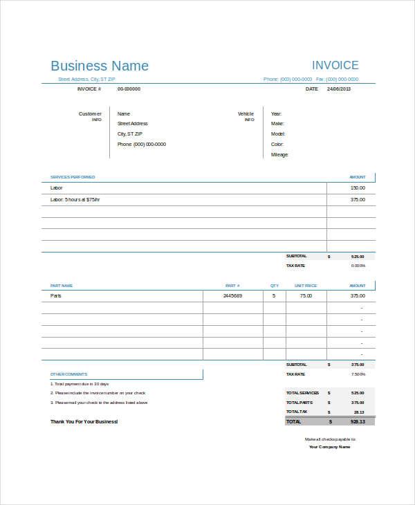 7+ Auto Repair Invoice Examples  Samples